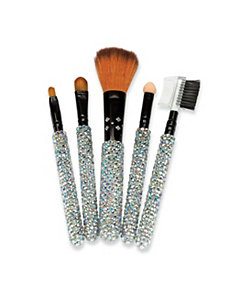 5 Piece Crystal Make-Up Brush Set by PalmBeach Jewelry