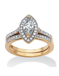 2 Piece 1.60 TCW Cubic Zirconia Ring by PalmBeach Jewelry