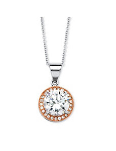 3.44 TCW Cubic Zirconia Pendant Necklace by PalmBeach Jewelry
