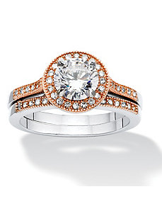2 Piece 2.36 TCW Cubic Zirconia Ring Set by PalmBeach Jewelry