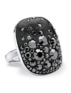 Jet Black Crystal Ring by PalmBeach Jewelry