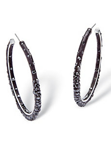Jet Black Crystal Hoop Earrings by PalmBeach Jewelry