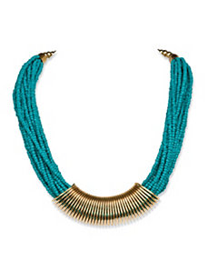 Teal Beaded Wrap Necklace by PalmBeach Jewelry