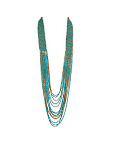 Teal and Gold Beaded Necklace by PalmBeach Jewelry