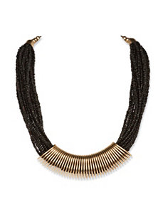 Black Beaded Wrap Necklace by PalmBeach Jewelry