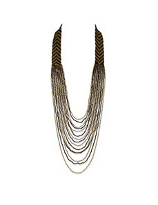 Black and Gold Chevron Necklace by PalmBeach Jewelry