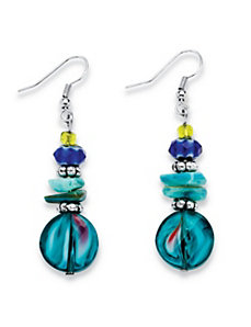 Blue Crystal Beaded Earrings by PalmBeach Jewelry