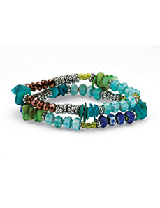 2 Piece Blue Crystal Bracelet Set by PalmBeach Jewelry