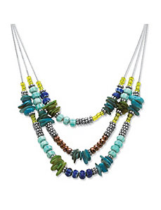 Blue Crystal Triple Strand Necklace by PalmBeach Jewelry