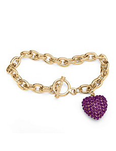 Purple Crystal Heart Charm Bracelet by PalmBeach Jewelry