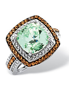 Green Swarovski Crystal Ring by PalmBeach Jewelry