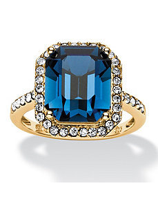 Dark Indigo Swarovski Crystal Ring by PalmBeach Jewelry