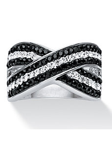 Pave B&W Crystal Ring by PalmBeach Jewelry
