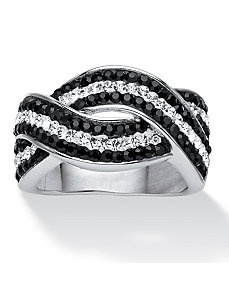 Jet Black and White Crystal Ring by PalmBeach Jewelry