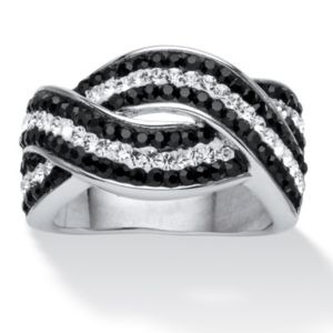 Jet Black and White Crystal Ring
