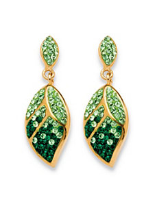 Green Crystal Leaf Drop Earrings by PalmBeach Jewelry