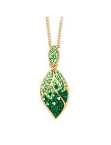Green Crystal Leaf Pendant Necklace by PalmBeach Jewelry