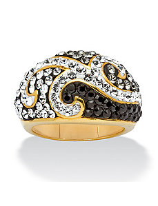 Black Crystal Scroll Ring by PalmBeach Jewelry