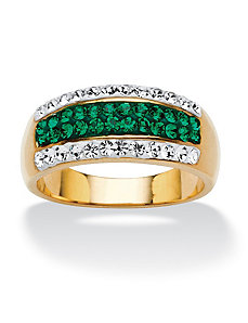 Pave Evergreen Crystal Row Ring by PalmBeach Jewelry