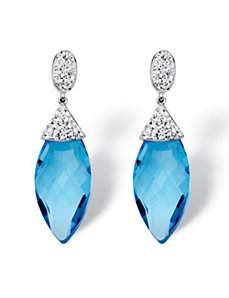Caribbean Blue Crystal Earrings by PalmBeach Jewelry