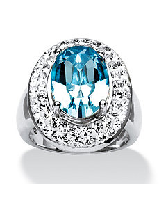 Light Aqua Crystal Ring by PalmBeach Jewelry