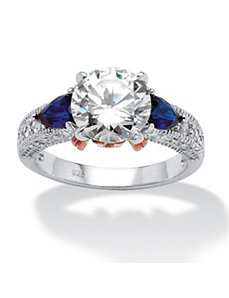 3.28 TCW Cubic Zirconia and Sapphire Ring by PalmBeach Jewelry