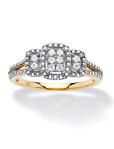 1/10 TCW Diamond Square Ring by PalmBeach Jewelry