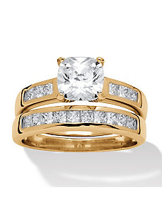 2 Piece 1.94 TCW Cubic Zirconia Ring Set by PalmBeach Jewelry