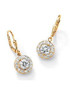 2.34 TCW Cubic Zirconia Halo Earrings by PalmBeach Jewelry