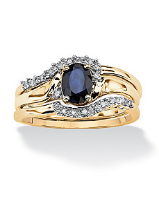 Sapphire Bridal Ring Set by PalmBeach Jewelry