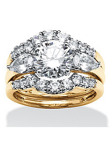 3.45 TCW Cubic Zirconia Ring Set by PalmBeach Jewelry