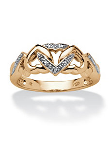 Diamond Accent Hearts Ring by PalmBeach Jewelry