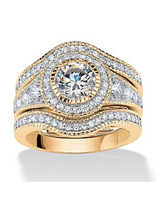 2.73 TCW Cubic Zirconia Ring Set by PalmBeach Jewelry