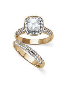 2.08 TCW Cubic Zirconia Ring Set by PalmBeach Jewelry