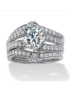2.76 TCW Cubic Zirconia Ring Set by PalmBeach Jewelry