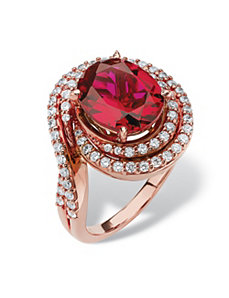 4.46 TCW Ruby Cubic Zirconia Ring by PalmBeach Jewelry