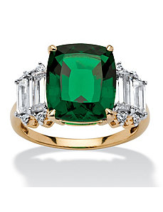 5.36 TCW Emerald Cubic Zirconia Ring by PalmBeach Jewelry