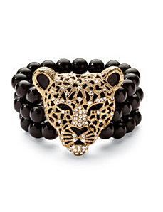 Onyx Leopard Stretch Bracelet by PalmBeach Jewelry