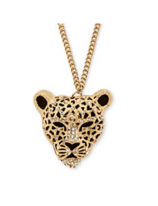 Onyx Leopard Pendant Necklace by PalmBeach Jewelry