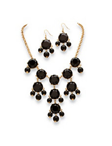 Black Bubble Jewelry Set by PalmBeach Jewelry