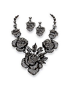Crystal Rose Jewelry Set by PalmBeach Jewelry