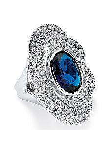 Blue Crystal Cocktail Ring by PalmBeach Jewelry