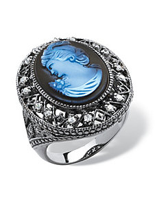 Blue Cameo Ring by PalmBeach Jewelry