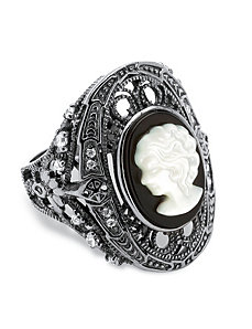 Onyx Mother of Pearl Cameo Ring by PalmBeach Jewelry