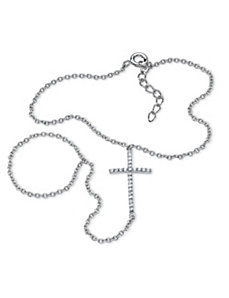 .21 TCW Cross Hand Chain Bracelet by PalmBeach Jewelry