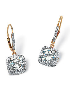 6.54 TCW Cubic Zirconia Earrings by PalmBeach Jewelry