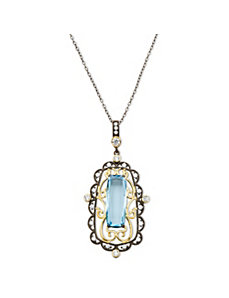 5.57 TCW Aquamarine Cubic Zirconia Necklace by PalmBeach Jewelry
