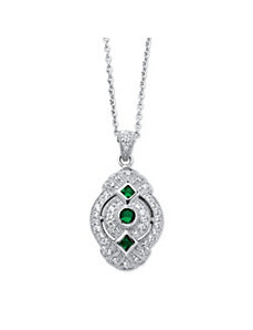 .53 TCW Cubic Zirconia Green Crystal Necklace by PalmBeach Jewelry
