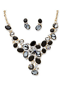 Black Crystal Jewelry Set by PalmBeach Jewelry