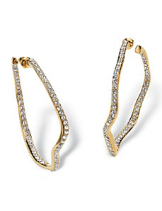 Crystal Wavy Hoops by PalmBeach Jewelry